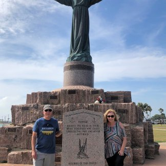 Phil and Jan at monument to lost sailors