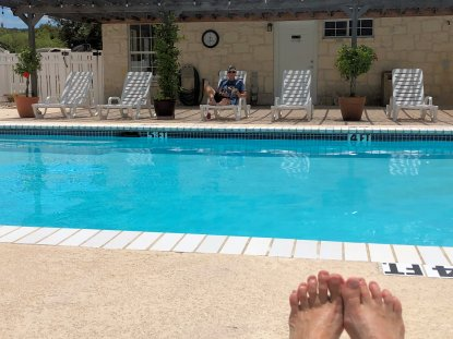 Jan's toes by the pool