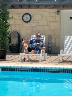 Phil relaxing by the pool