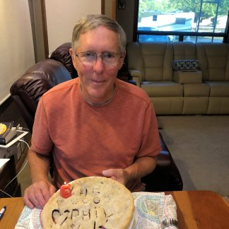 Phil with his birthday pie